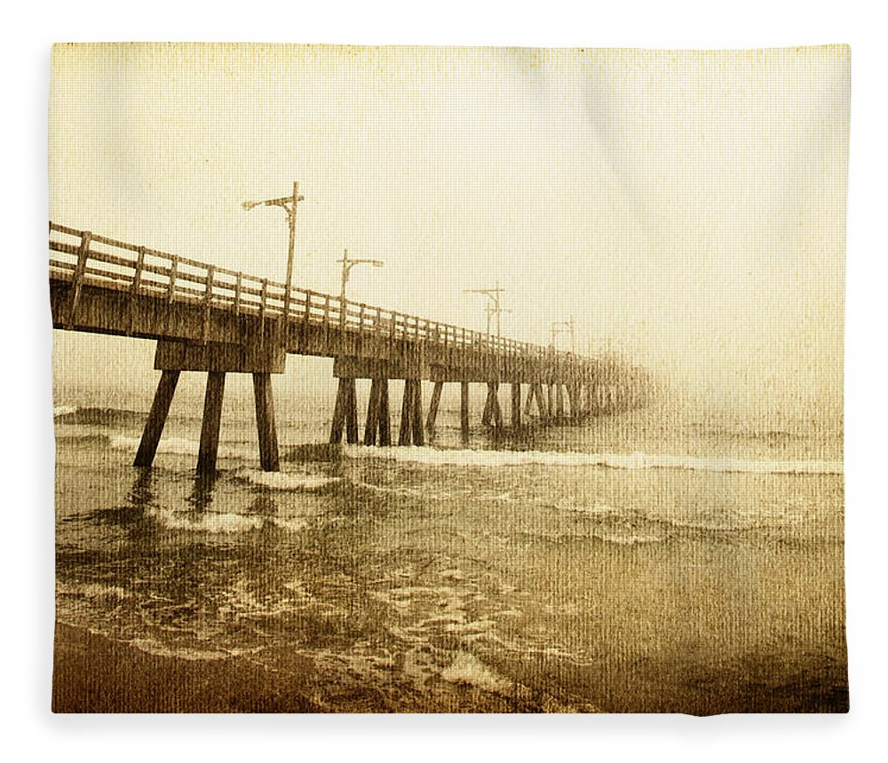 Pier Fleece Blanket featuring the photograph Pier In A Storm by Skip Nall