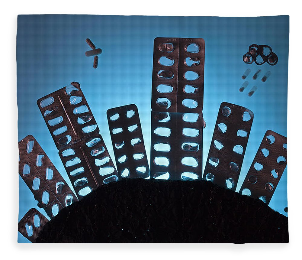 Shadow Fleece Blanket featuring the photograph Pills And Blister Packs Arranged To by Fstop Images - Larry Washburn