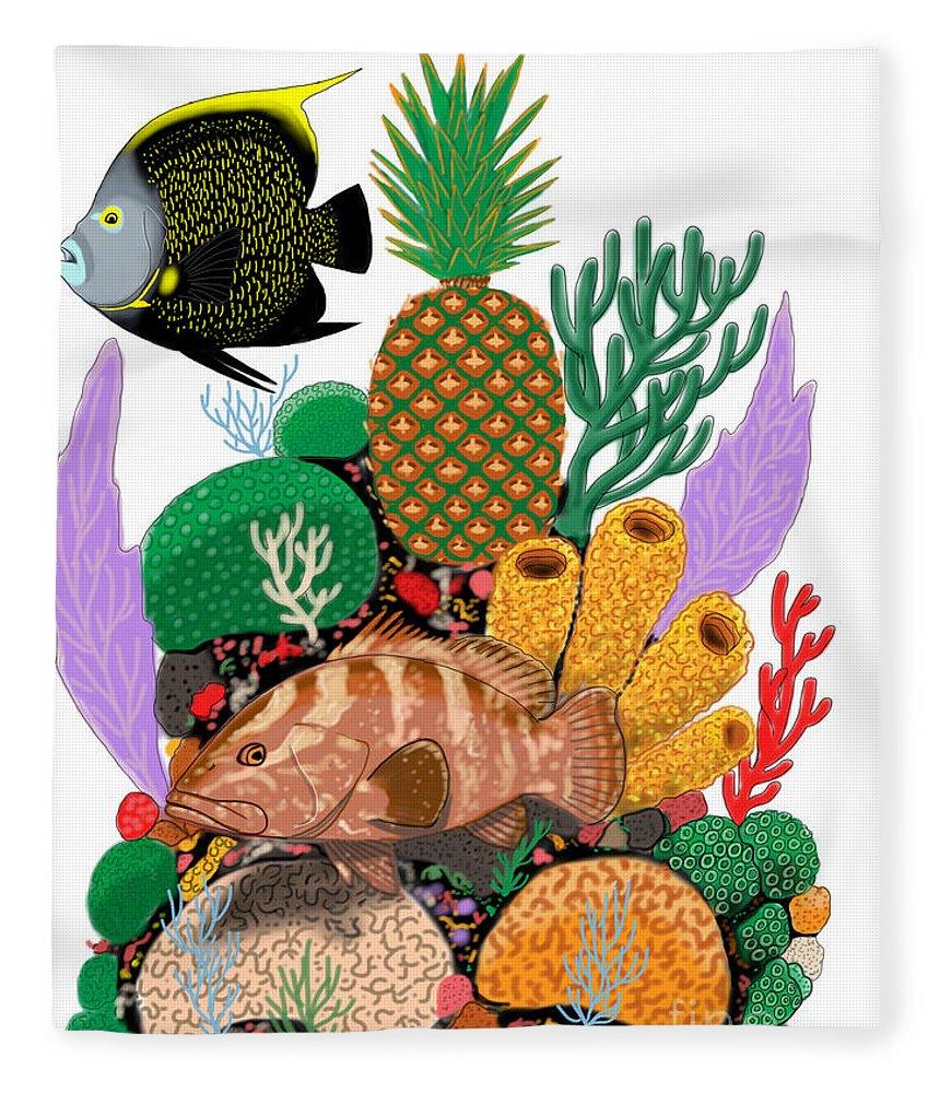 Pineapple Fleece Blanket featuring the digital art Pineapple Reef by Carey Chen