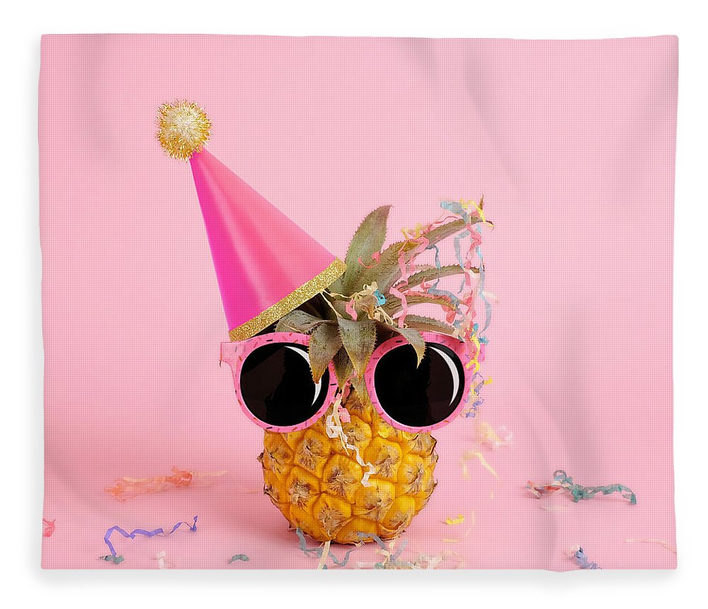 Celebration Fleece Blanket featuring the photograph Pineapple Wearing A Party Hat And by Juj Winn