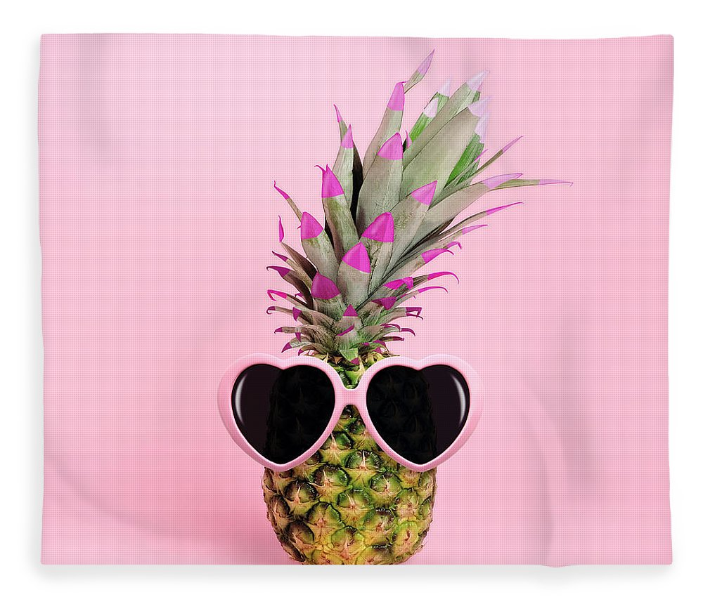 Food Fleece Blanket featuring the photograph Pineapple Wearing Sunglasses by Juj Winn