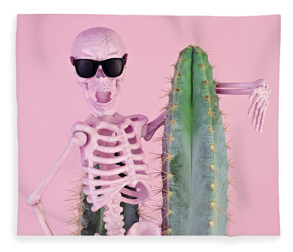 Cool Attitude Fleece Blanket featuring the photograph Pink Skeleton With Cactus by Juj Winn