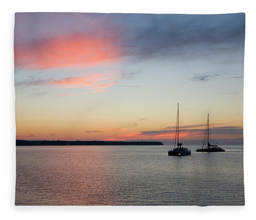 Scenics Fleece Blanket featuring the photograph Pink Sky After Sunset, Oia, Santorini by David C Tomlinson