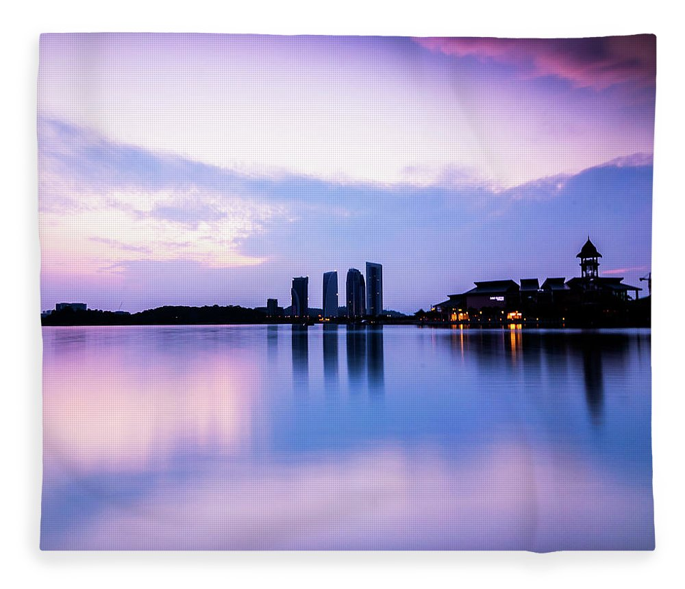 Tranquility Fleece Blanket featuring the photograph Pink Sunrise by Azirull Amin Aripin