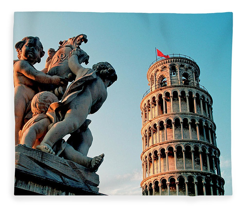 Statue Fleece Blanket featuring the photograph Pisa, Leaning Tower, Tuscany, Italy by Hans-peter Merten
