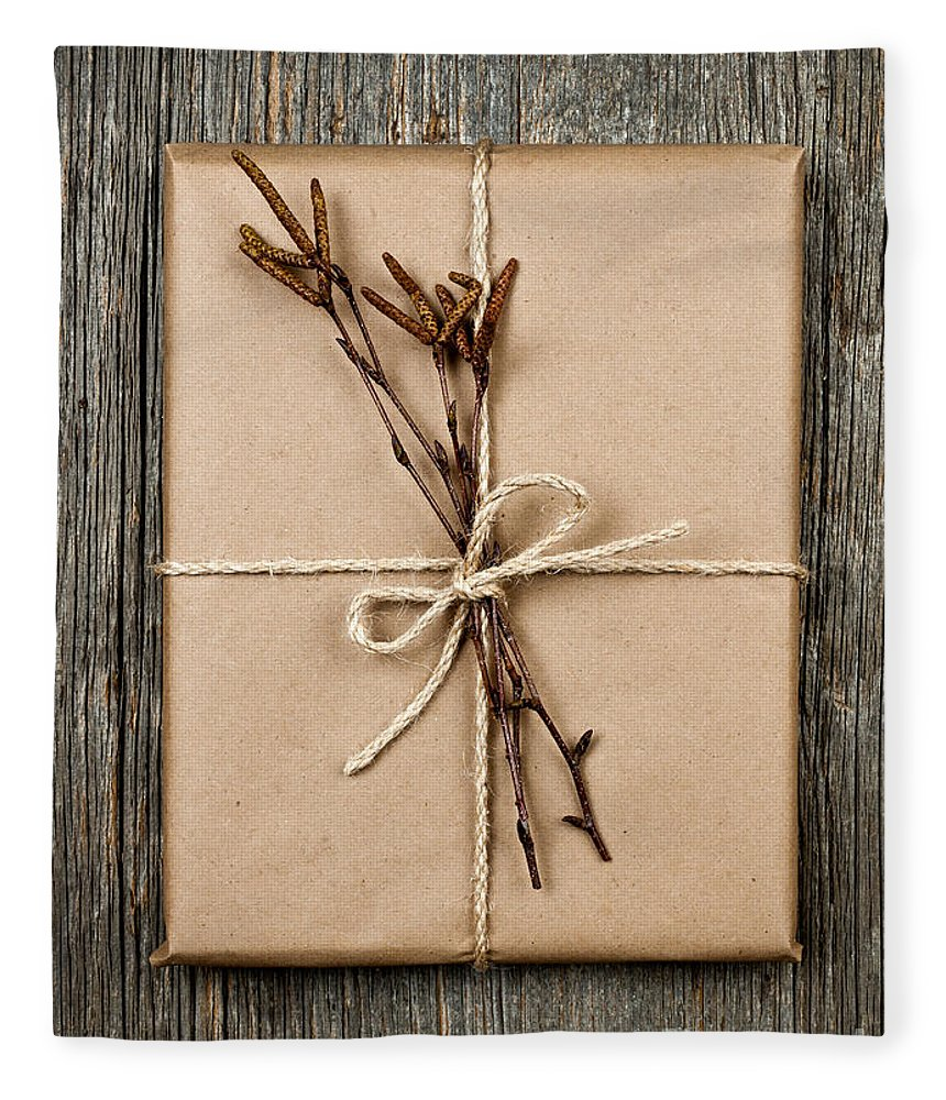 Package Fleece Blanket featuring the photograph Plain Gift With Natural Decorations by Elena Elisseeva
