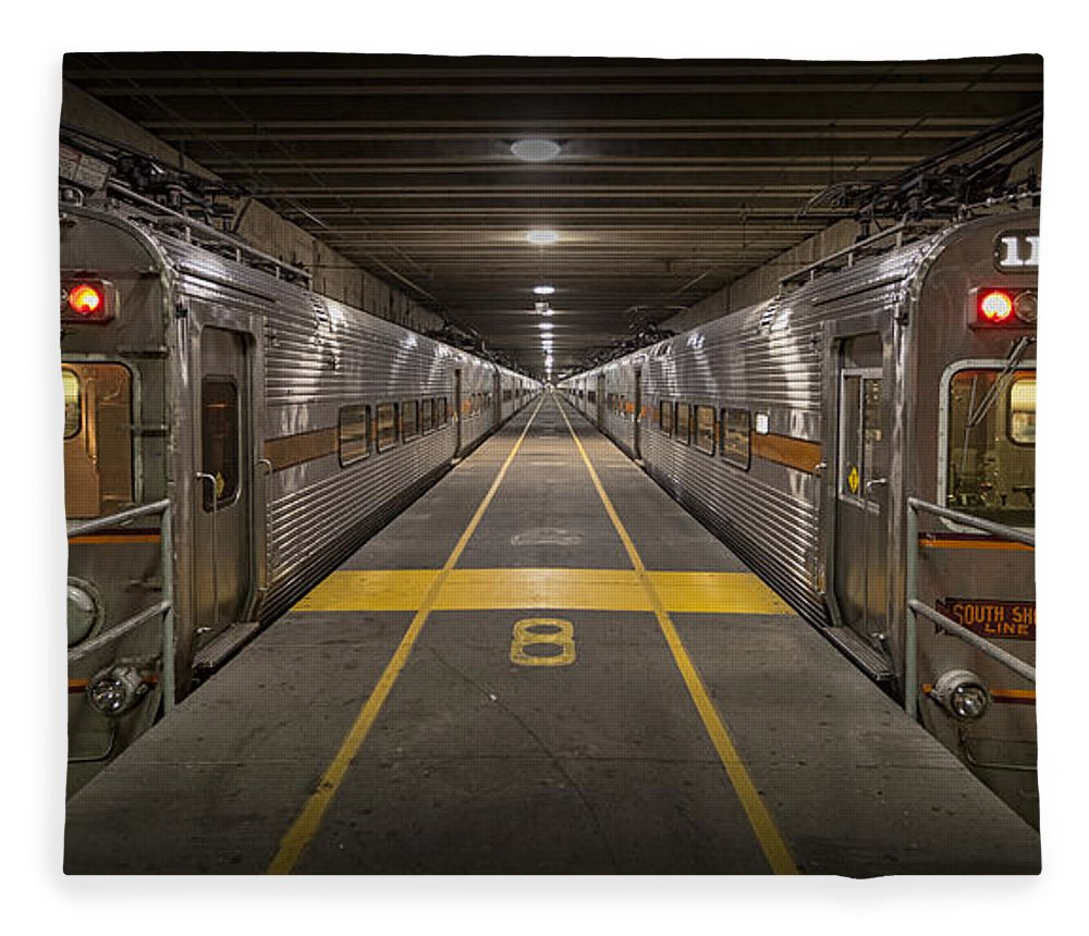 3scape Fleece Blanket featuring the photograph Platform Eight At Union Station by Adam Romanowicz