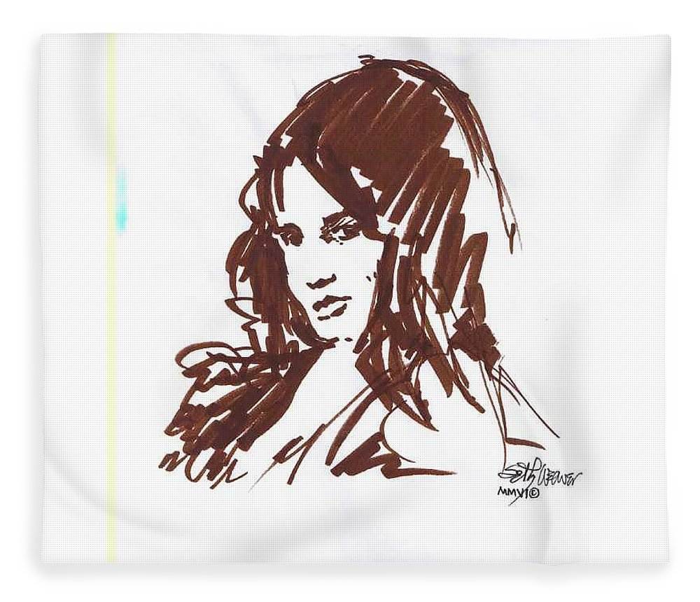 Playful Fleece Blanket featuring the drawing Playful by Seth Weaver