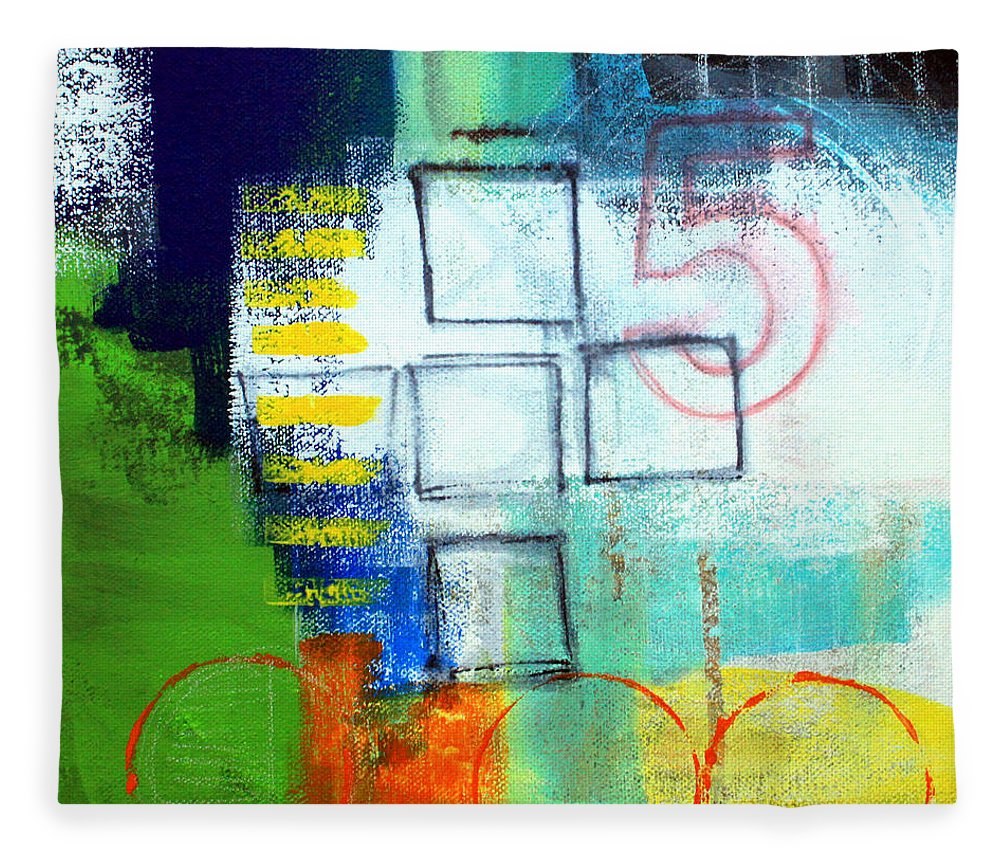 Abstract Fleece Blanket featuring the painting Playground by Linda Woods