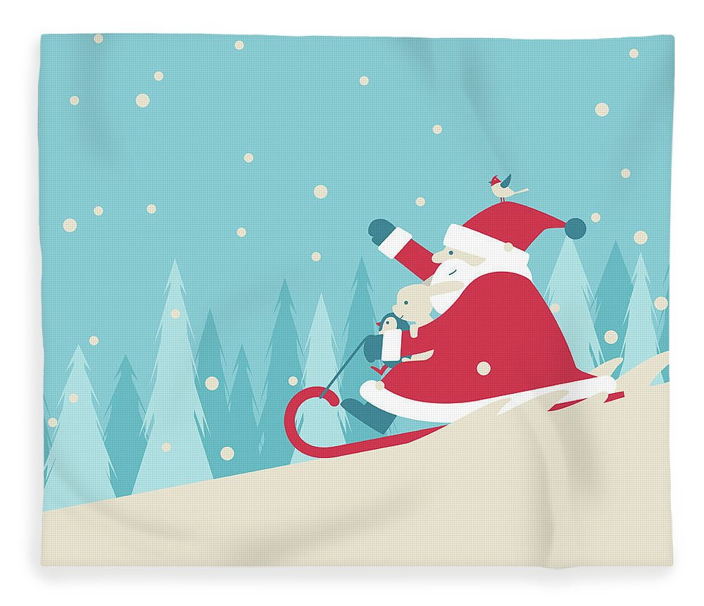 Holiday Fleece Blanket featuring the digital art Playing Snow Sled by Akindo
