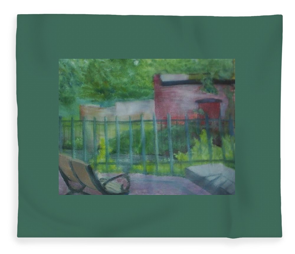 Park Fleece Blanket featuring the painting Plein Aire Smithville Park by Sheila Mashaw