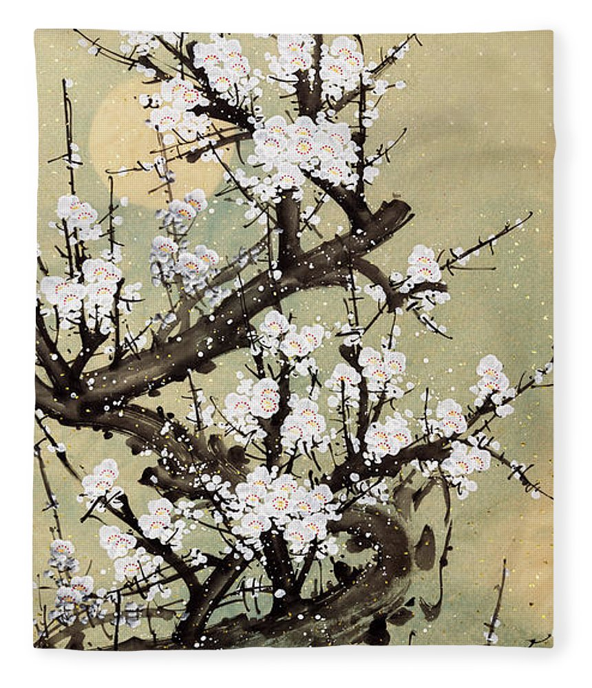 Chinese Culture Fleece Blanket featuring the digital art Plum Blossom by Vii-photo