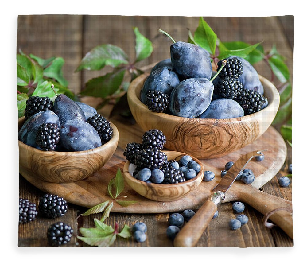 Plum Fleece Blanket featuring the photograph Plums And Berries by Verdina Anna