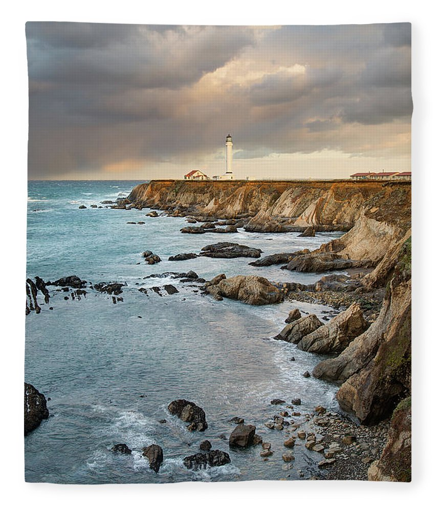 Headland Fleece Blanket featuring the photograph Point Arena Headland And Lighthouse by Kjschoen