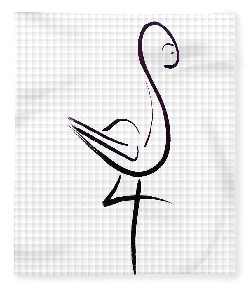Abstract Fleece Blanket featuring the drawing Poise by Micah Guenther