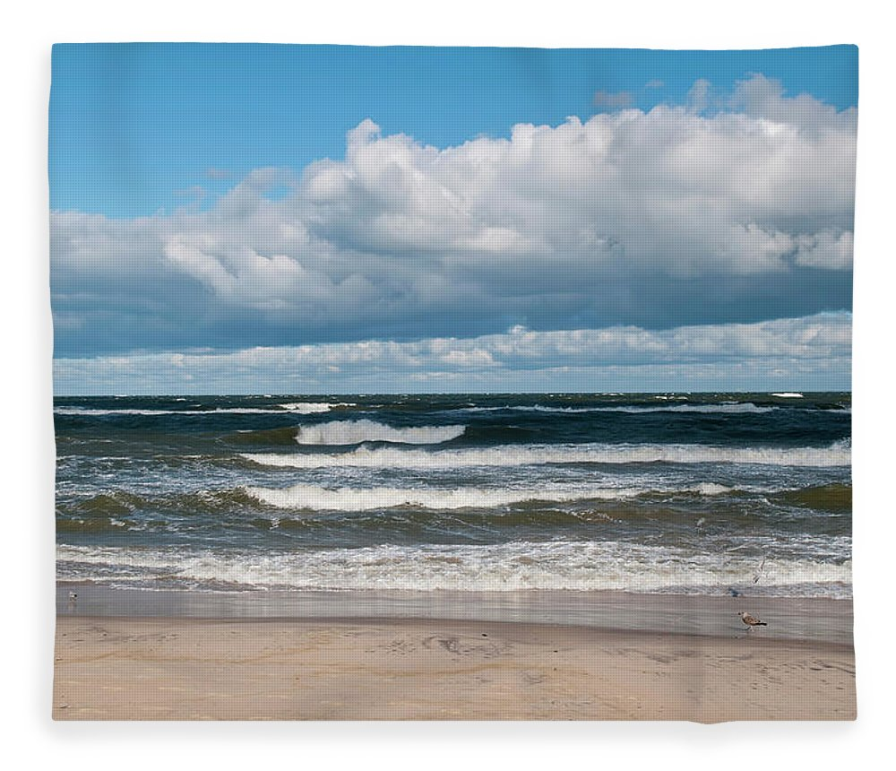 Water's Edge Fleece Blanket featuring the photograph Poland, View Of Baltic Sea In Autumn At by Westend61