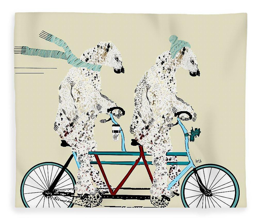 Polar Bears Fleece Blanket featuring the painting Polar Bears Lets Tandem by Bri Buckley