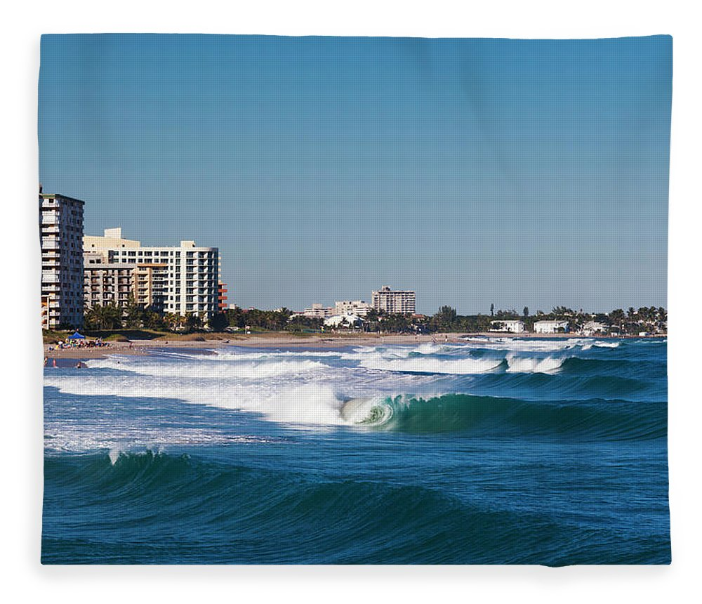 Tranquility Fleece Blanket featuring the photograph Pompano Beach, Florida, Exterior View by Walter Bibikow