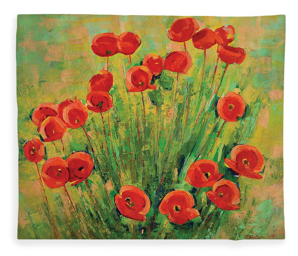 Poppies Fleece Blanket featuring the painting Poppies by Iliyan Bozhanov