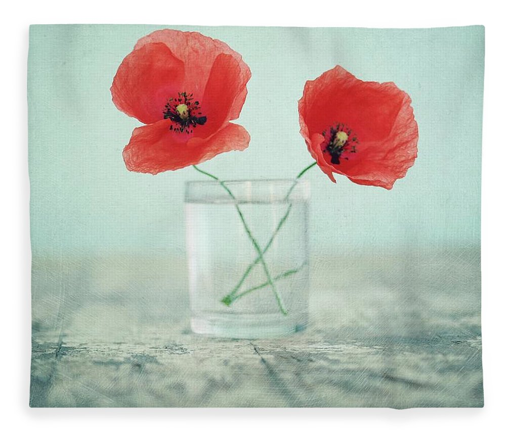 Bulgaria Fleece Blanket featuring the photograph Poppies In A Glass, Still Life by By Julie Mcinnes