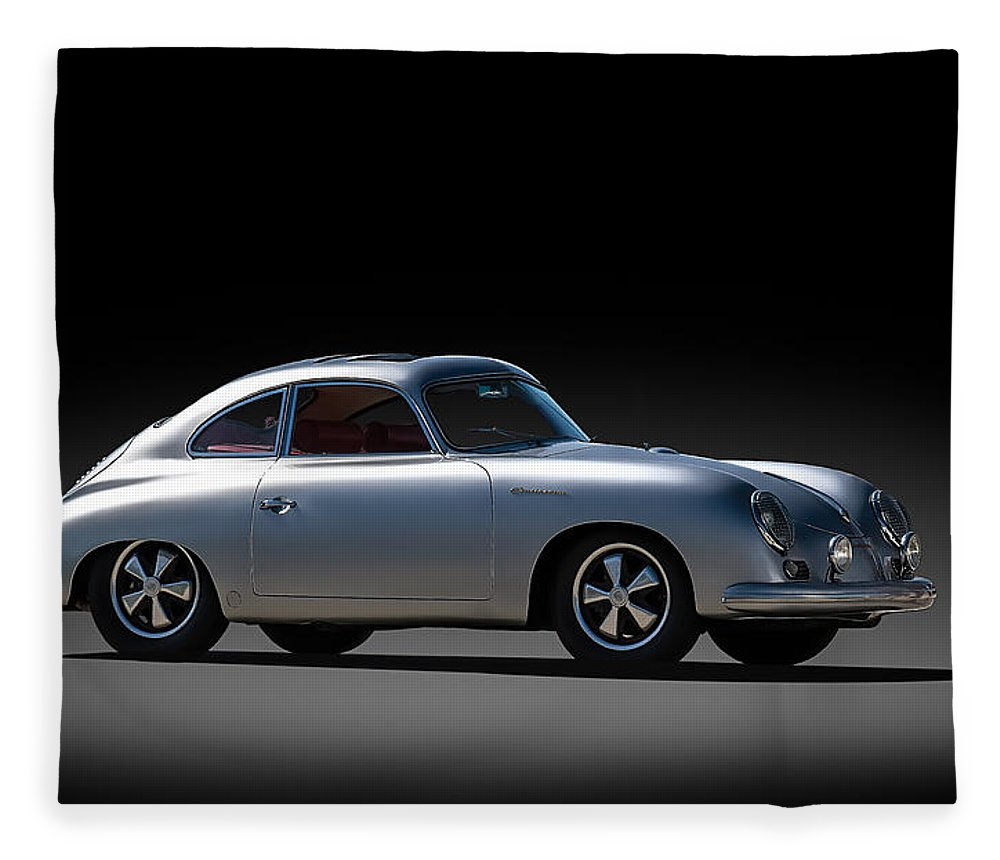 Silver Fleece Blanket featuring the digital art Porsche 356 Outlaw by Douglas Pittman