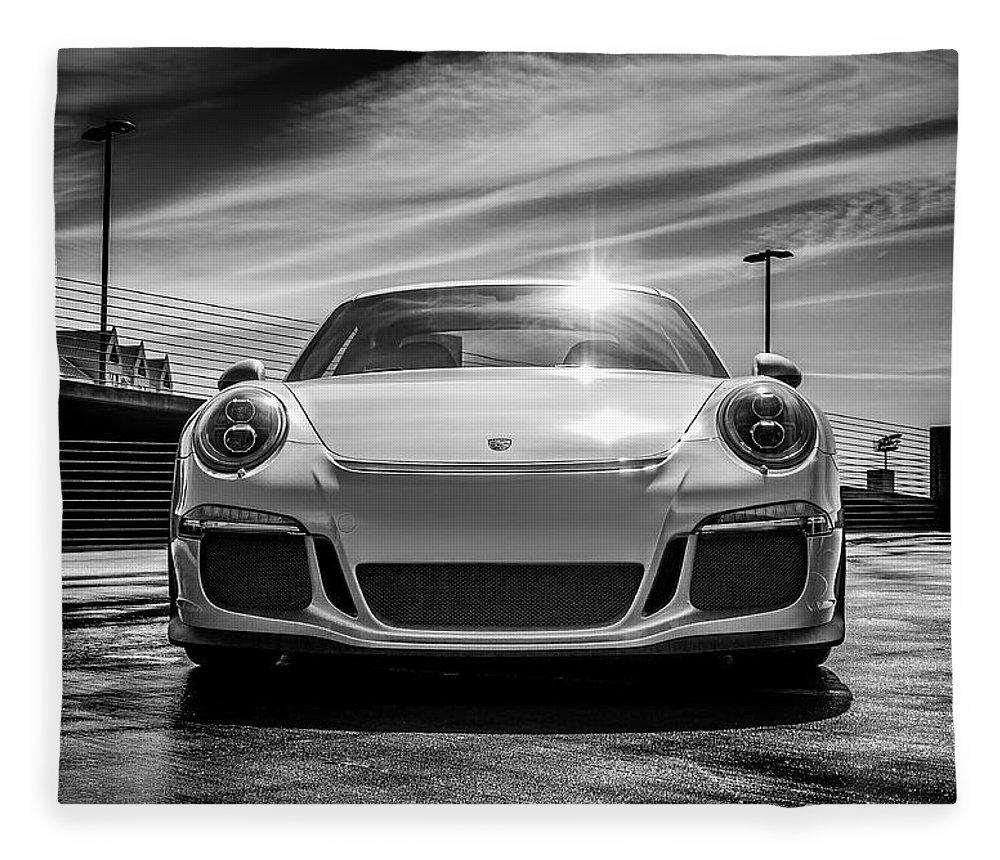 Porsche Fleece Blanket featuring the digital art Porsche 911 Gt3 by Douglas Pittman