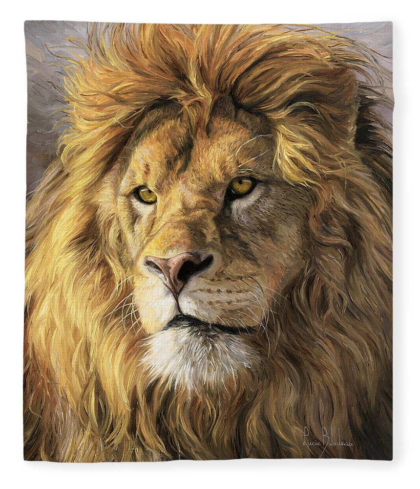 Lion Fleece Blanket featuring the painting Portrait Of A Lion by Lucie Bilodeau