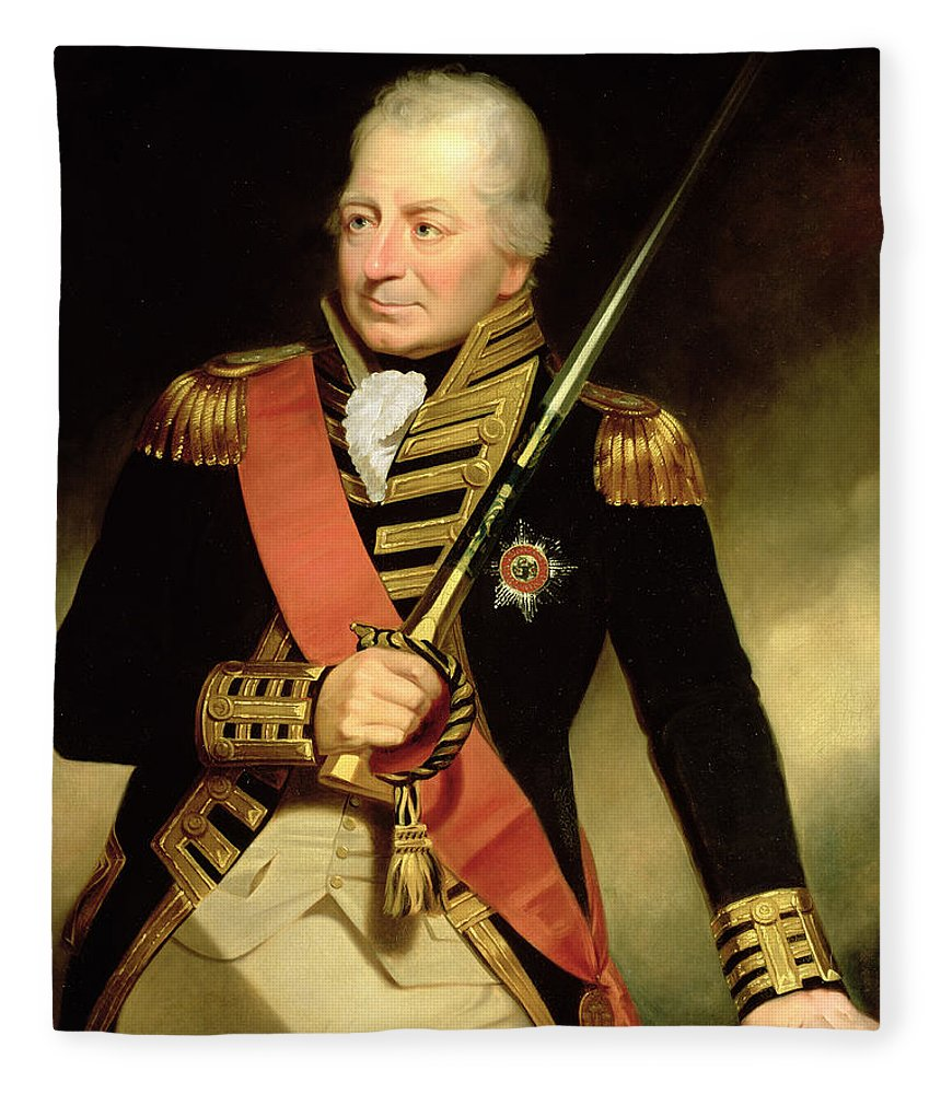 Naval Hero Fleece Blanket featuring the painting Portrait Of John Jervis First Earl by Sir William Beechey