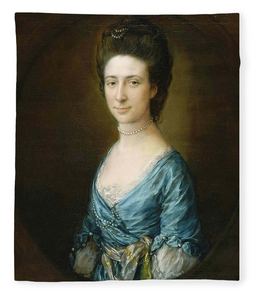 Thomas Gainsborough Fleece Blanket featuring the painting Portrait Of Mrs Clement Tudway by Thomas Gainsborough