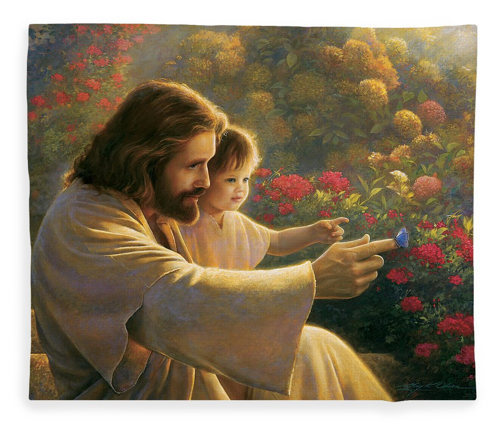Jesus Fleece Blanket featuring the painting Precious In His Sight by Greg Olsen
