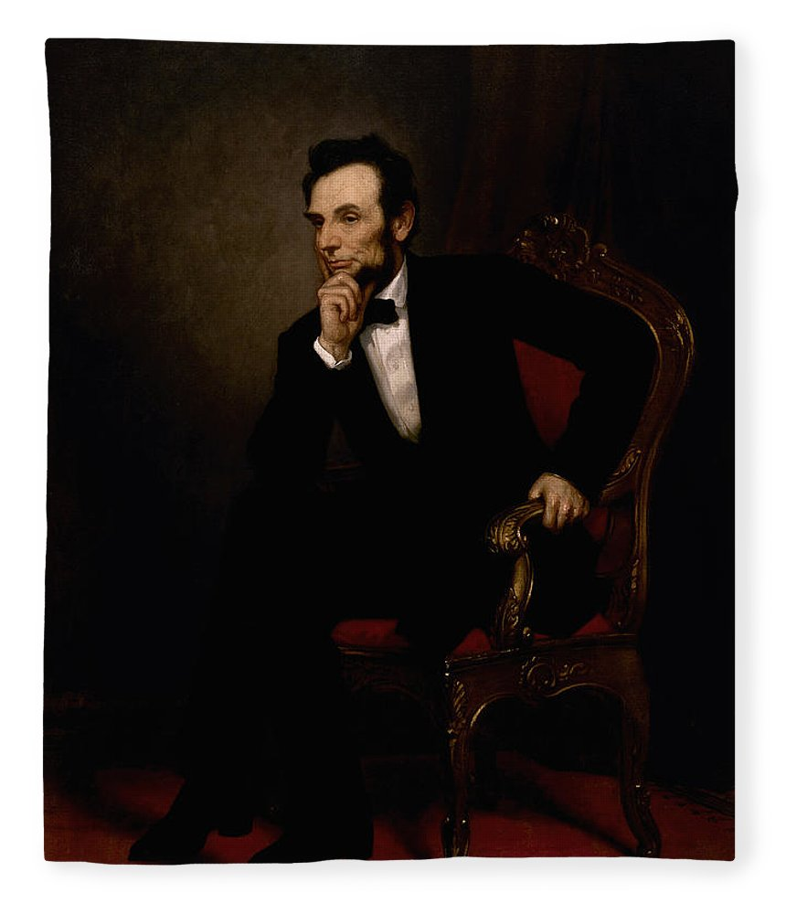 Abraham Lincoln Fleece Blanket featuring the painting President Lincoln by War Is Hell Store