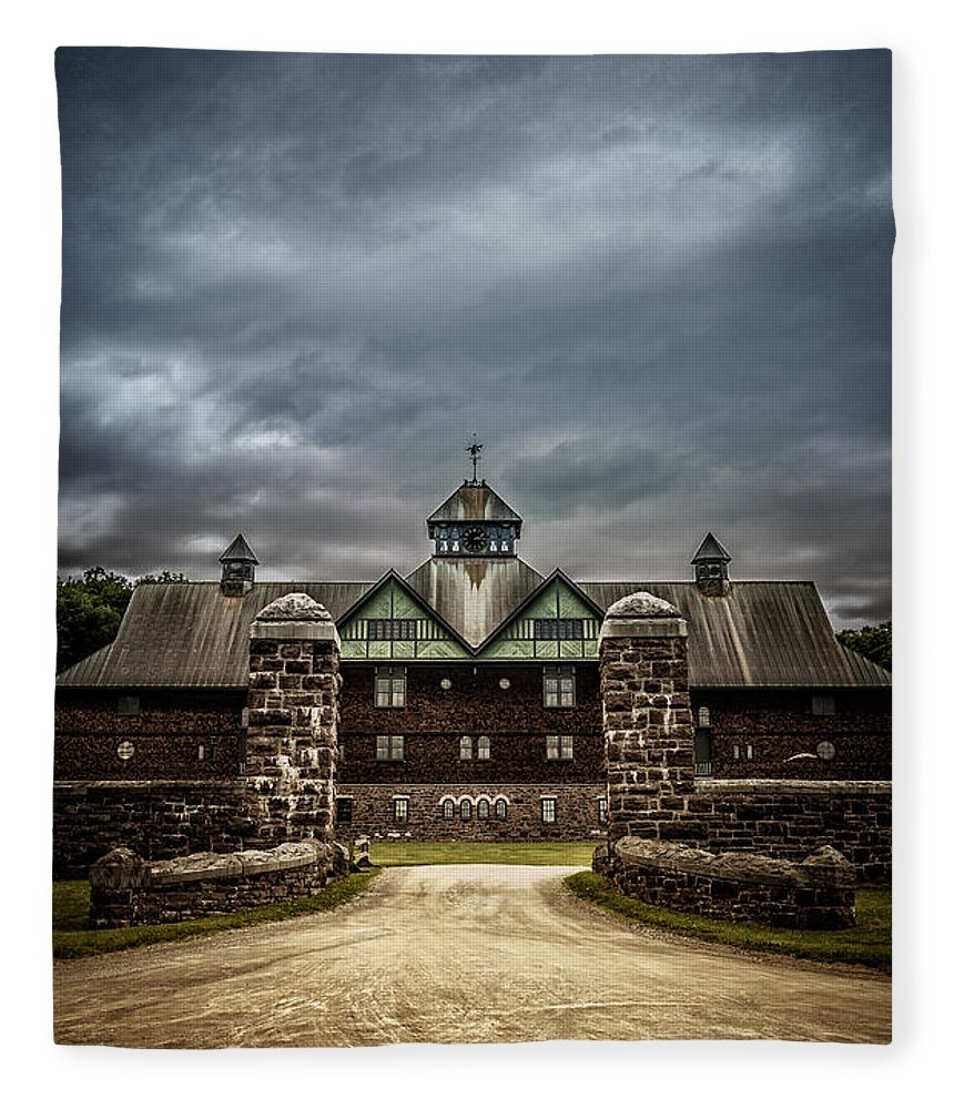 Shelburne Fleece Blanket featuring the photograph Private School by Edward Fielding
