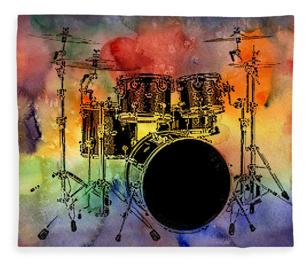 Drums Fleece Blanket featuring the photograph Psychedelic Drum Set by Athena Mckinzie