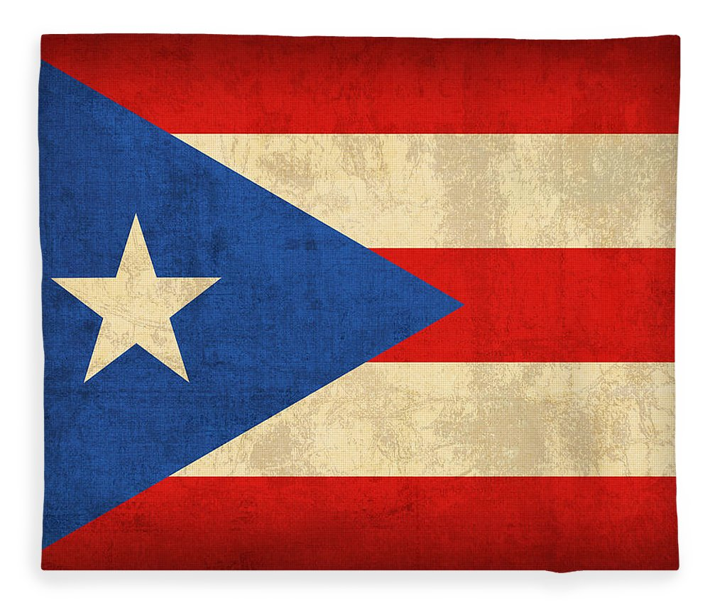 Puerto Fleece Blanket featuring the mixed media Puerto Rico Flag Vintage Distressed Finish by Design Turnpike