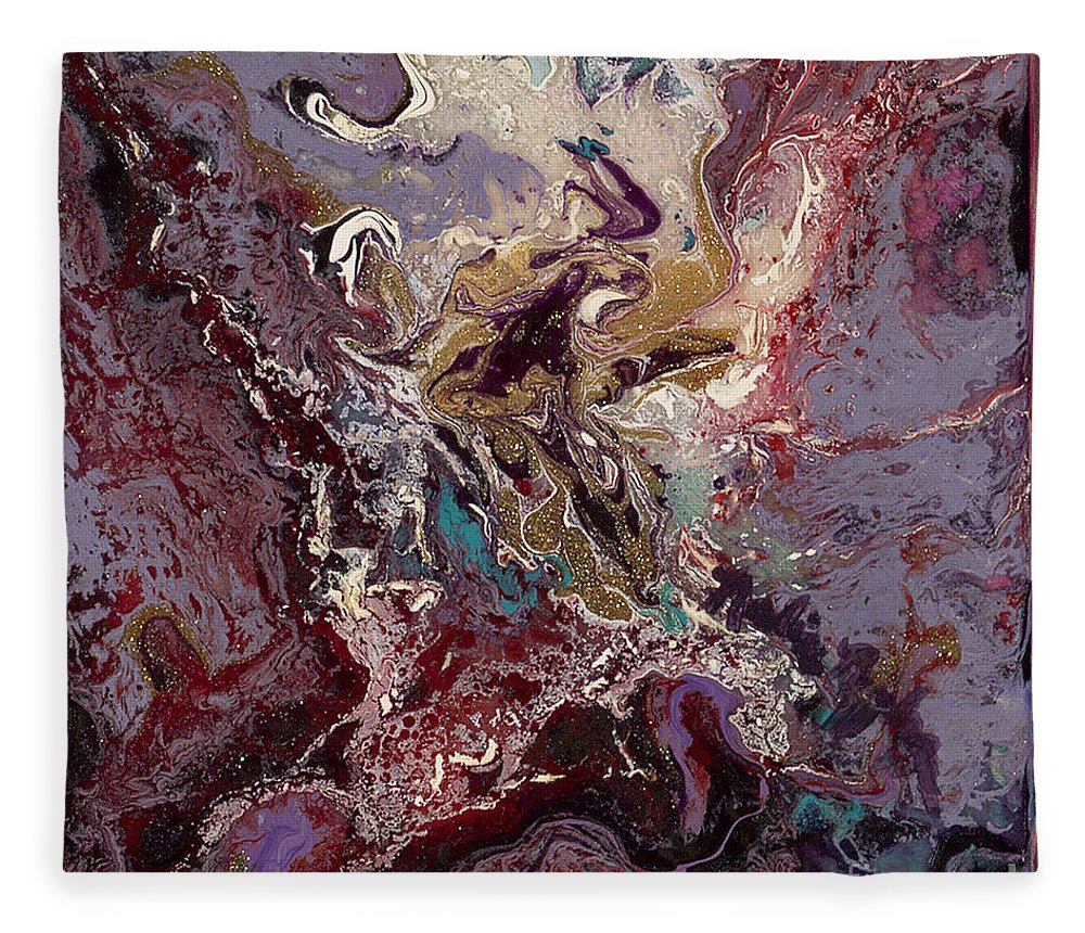 Purple Fleece Blanket featuring the painting Purple Blitz by Nadine Rippelmeyer