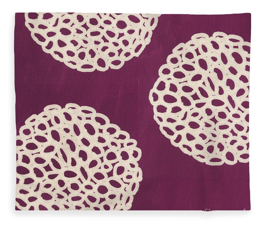 Purple Fleece Blanket featuring the painting Purple Garden Bloom by Linda Woods