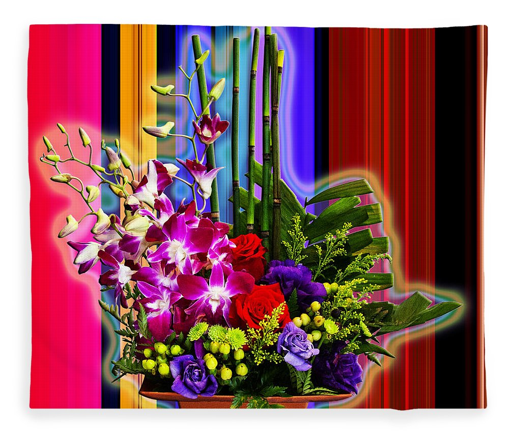 Abstract Extractions Fleece Blanket featuring the photograph Purple Lady Flowers by Chuck Staley