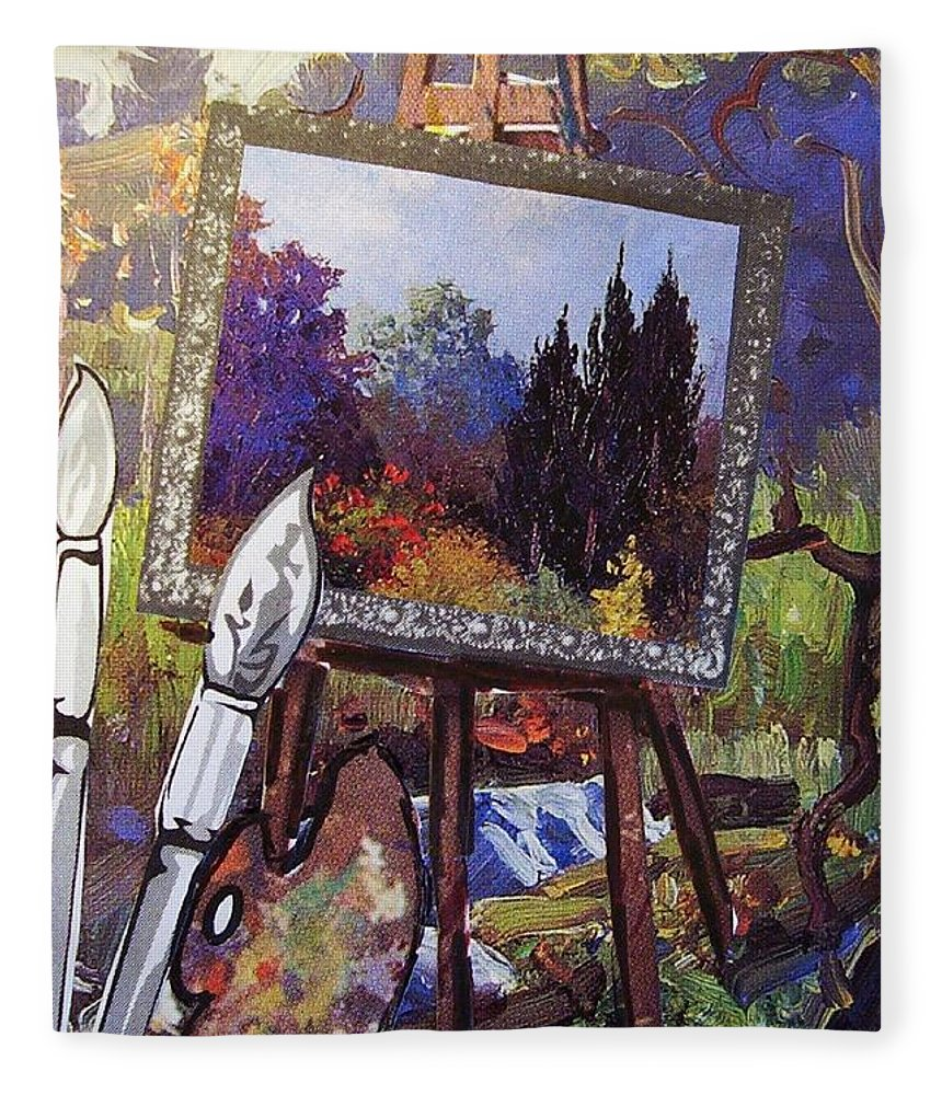 Easel Fleece Blanket featuring the painting Put Color In Your Life by Eloise Schneider Mote