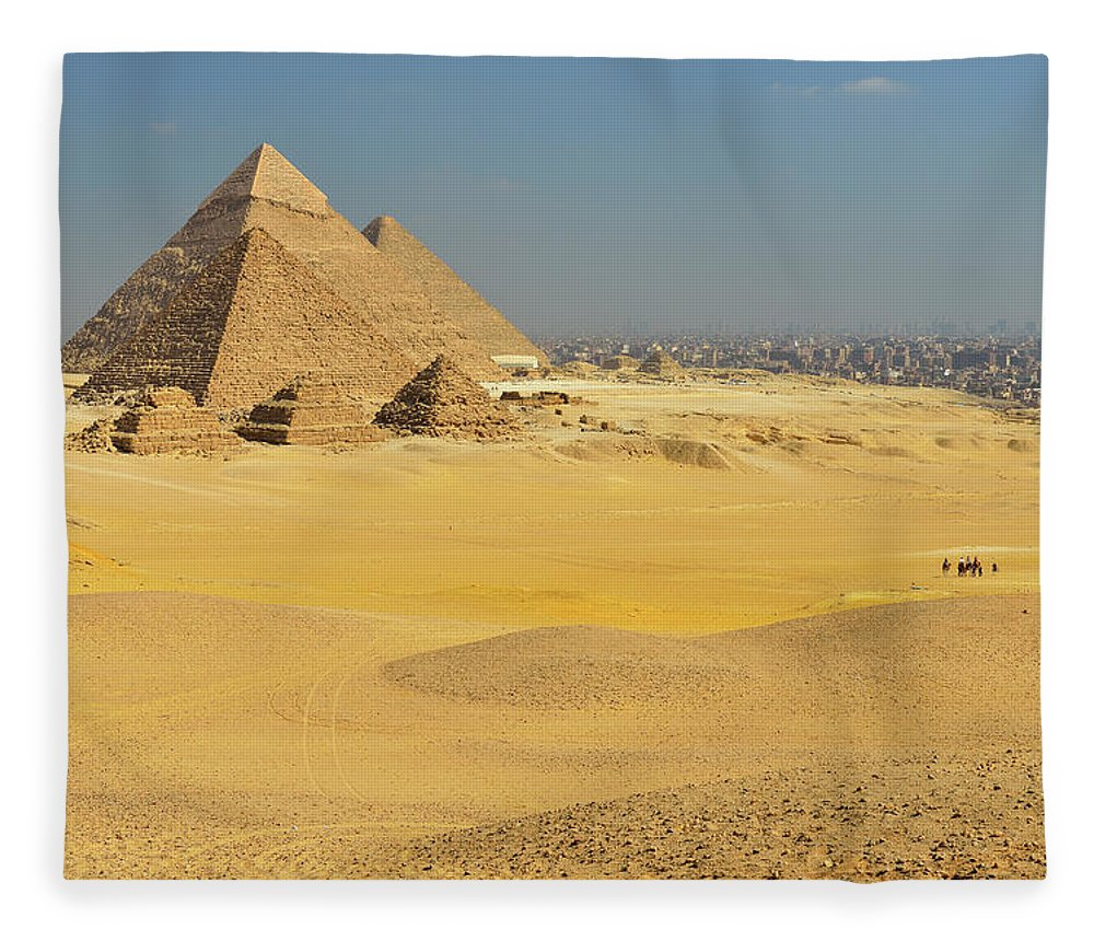 Built Structure Fleece Blanket featuring the photograph Pyramids Of Giza by Raimund Linke