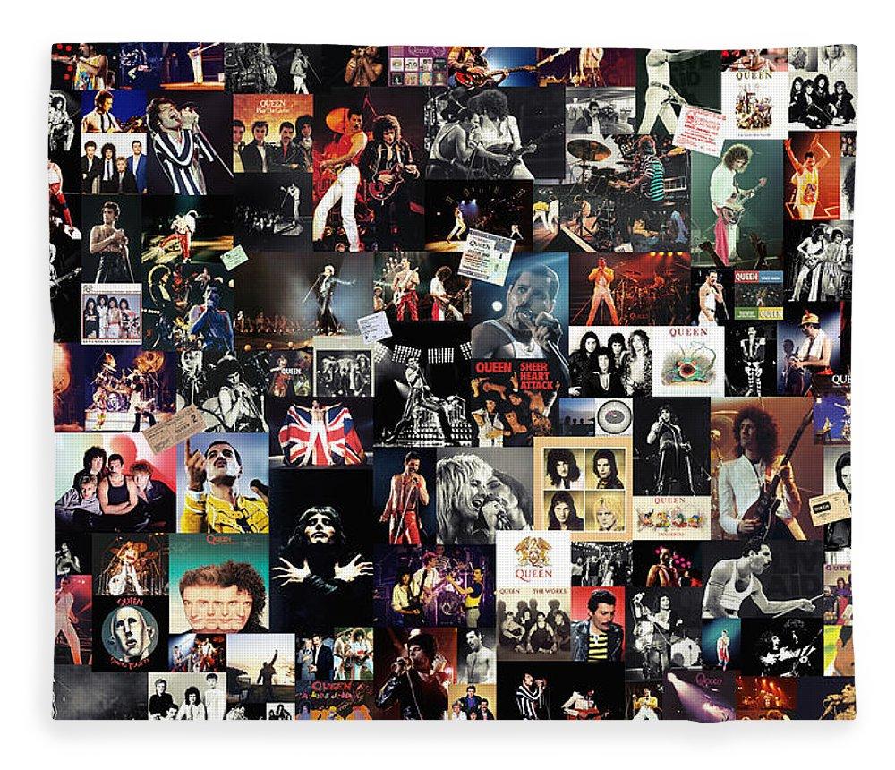 Queen Fleece Blanket featuring the digital art Queen Collage by Zapista OU