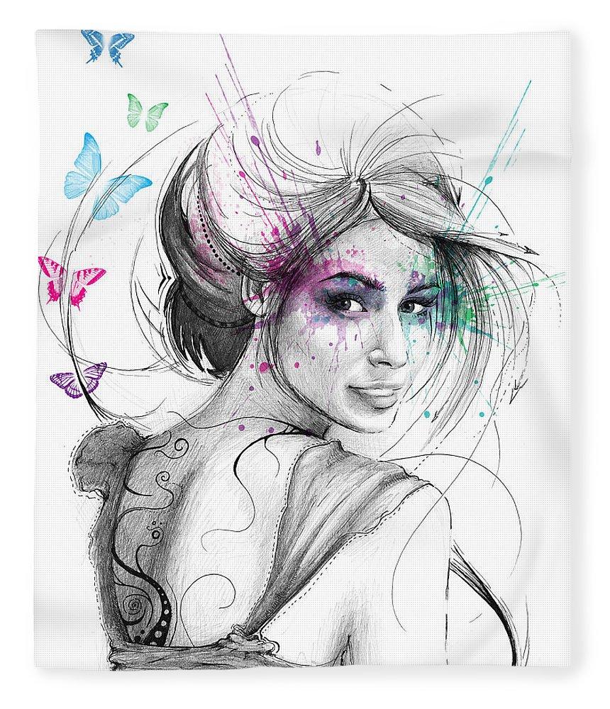 Butterflies Fleece Blanket featuring the drawing Queen of Butterflies by Olga Shvartsur