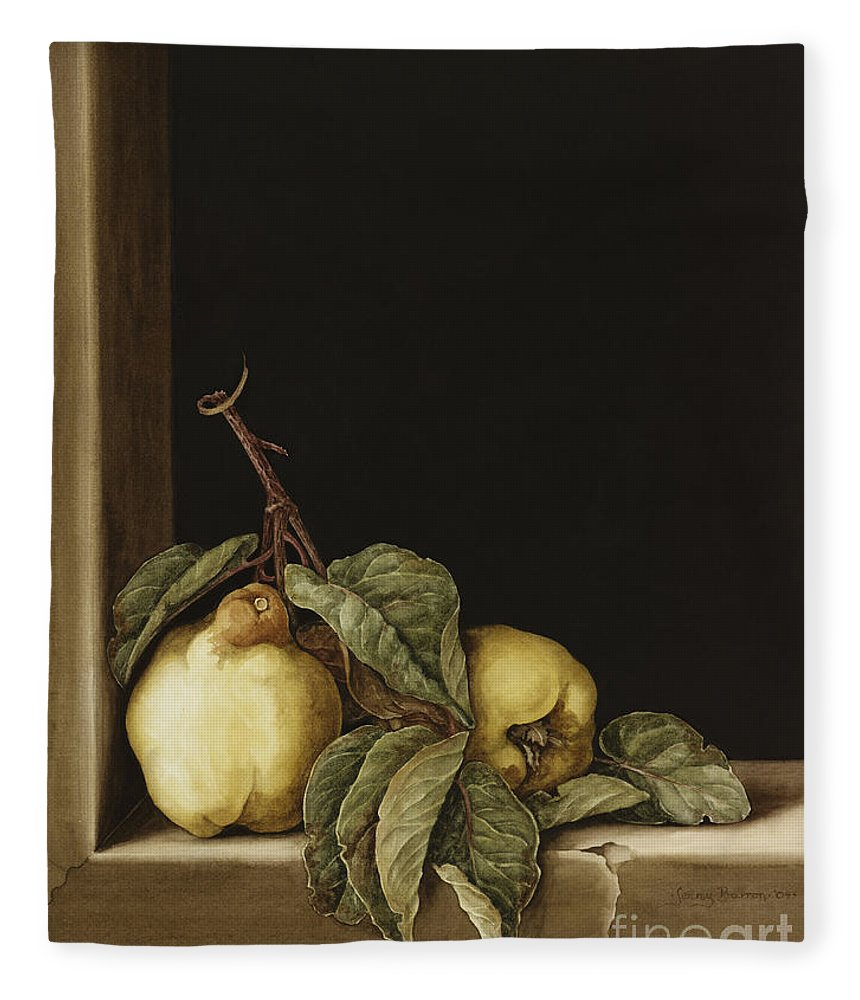 Still Life Fleece Blanket featuring the painting Quinces by Jenny Barron