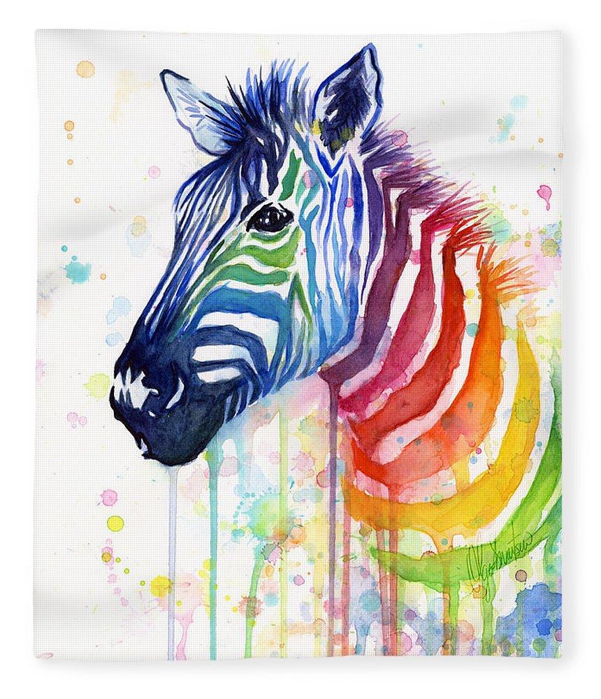 Rainbow Fleece Blanket featuring the painting Rainbow Zebra - Ode to Fruit Stripes by Olga Shvartsur