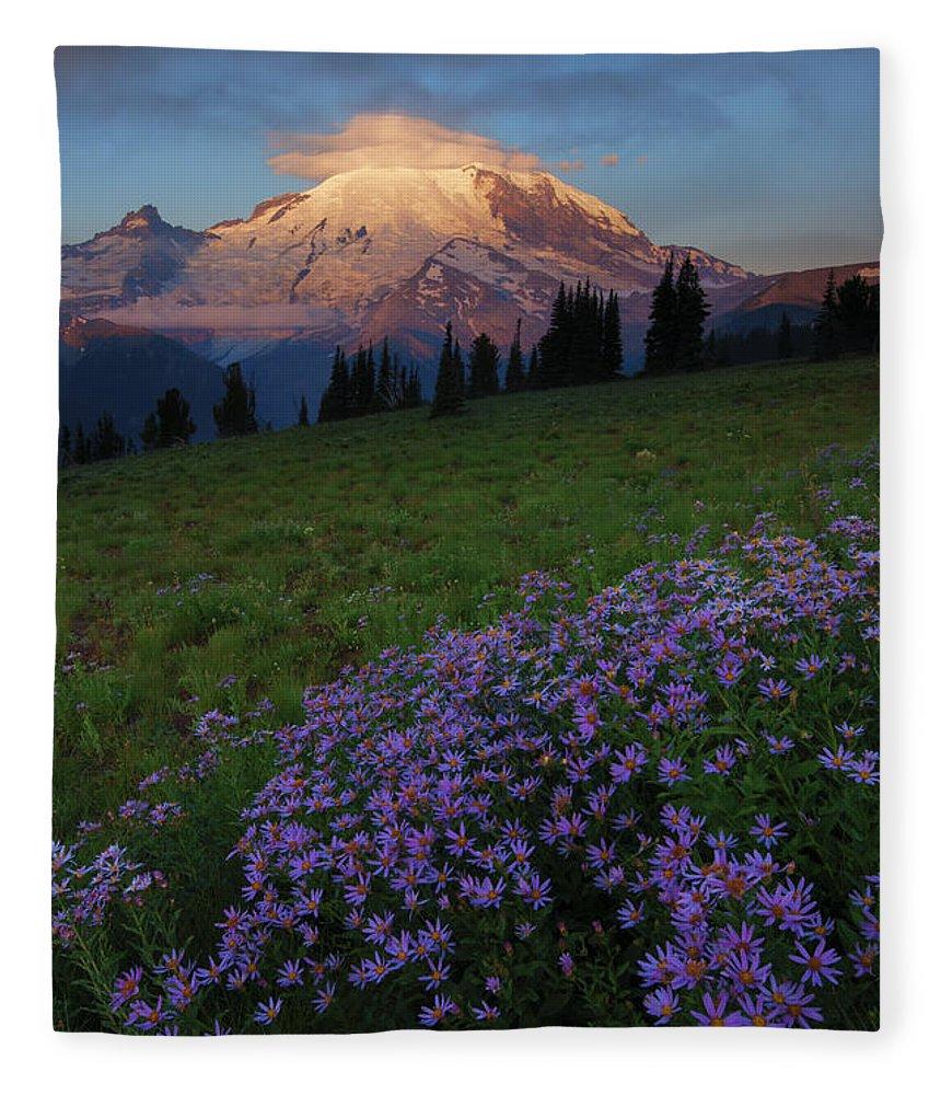 Rainier Fleece Blanket featuring the photograph Rainier Morning Cap by Mike Dawson