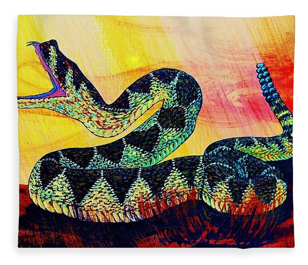 Rattle Snake Fleece Blanket For Sale By Cynthia Sampson