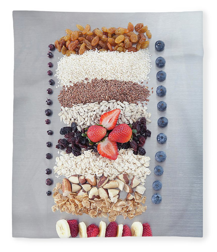 Nut Fleece Blanket featuring the photograph Raw Nuts, Fruit And Grains by Laurie Castelli