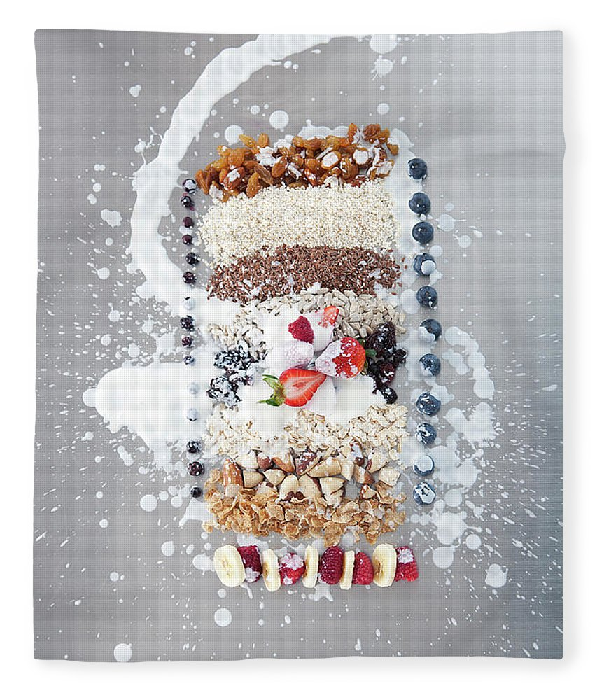 Natural Pattern Fleece Blanket featuring the photograph Raw Nuts, Fruit And Grains With Cream by Laurie Castelli