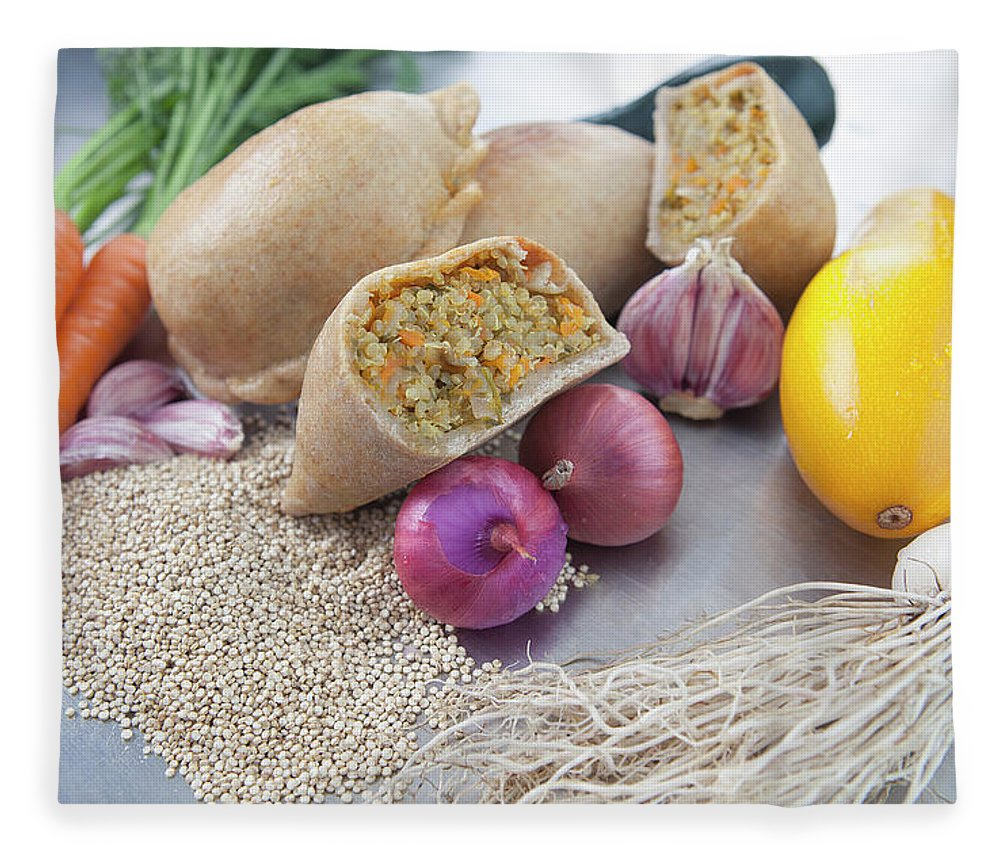 Healthy Eating Fleece Blanket featuring the photograph Raw Vegetables With Cooked Pastries by Laurie Castelli
