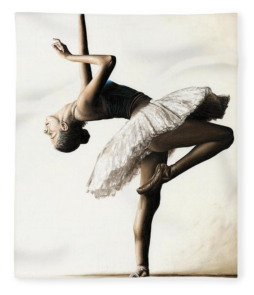 Dancer Fleece Blanket featuring the painting Reaching For Perfect Grace by Richard Young