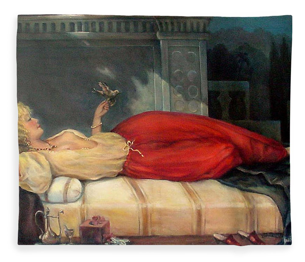Reclining Woman Fleece Blanket featuring the painting Reclining Woman by Donna Tucker